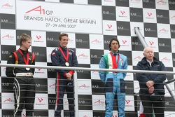 Podium: Nico Hulkenberg, Driver of A1Team Germany, Robbie Kerr, Driver of A1Team Great Britain, Enrico Toccacelo, Driver of A1Team Italy and John Surtees, Team Manager of A1Team Great Britain