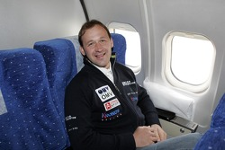 Manfred Stohl in the airplane from Buenos Aires to Cordoba