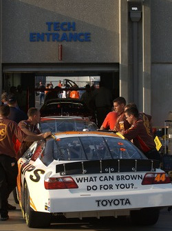 Dale Jarrett's car heads into NASCAR Tech Inspection