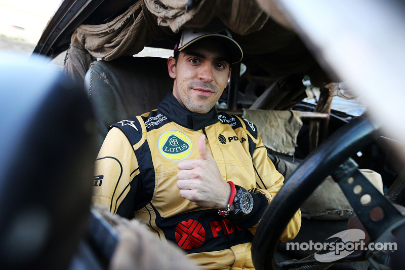 Pastor Maldonado, Lotus F1 Team with special race overalls to promote the film Mad Max: Fury Road