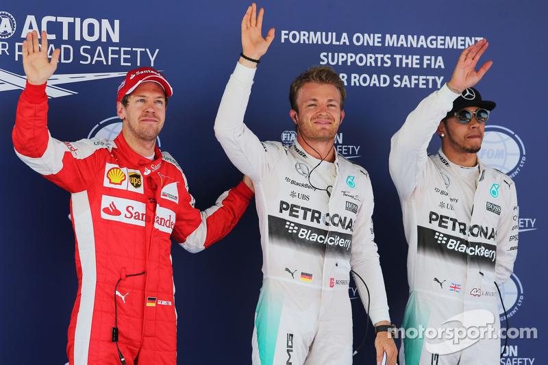 Sebastian Vettel, Ferrari, mit Nico Rosberg und Lewis Hamilton, Mercedes AMG F1