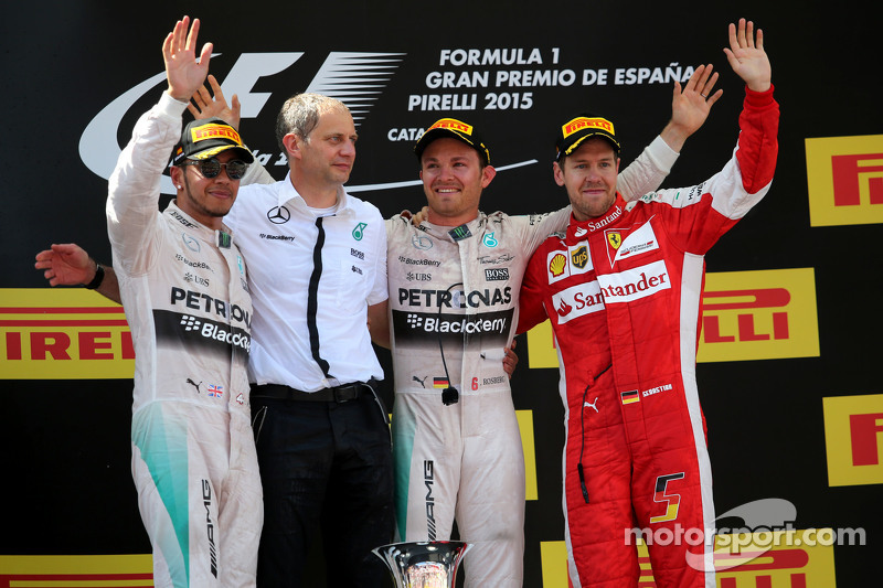 2015: 1. Nico Rosberg, 2. Lewis Hamilton, 3. Sebastian Vettel