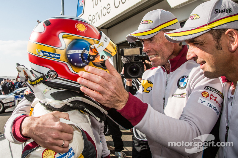 Pole winner Augusto Farfus celebrates with Jörg Müller, Nicky Catsburg and Dirk Adorf