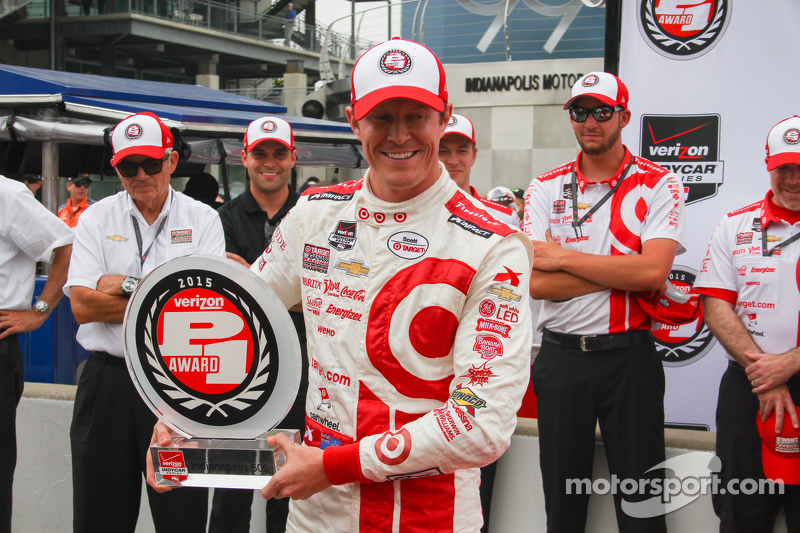 Scott Dixon, Chip Ganassi Racing merayakan pole position