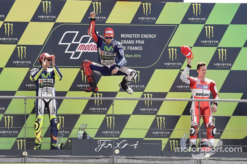2015: 1. Jorge Lorenzo, 2. Valentino Rossi, 3. Andrea Dovizioso