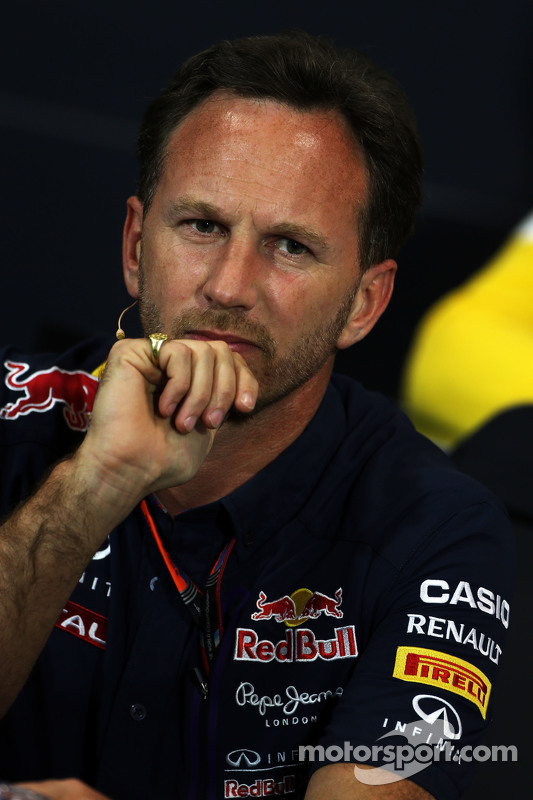 Christian Horner, Red Bull Racing, Teamchef, in der FIA-Pressekonferenz