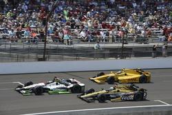 Sebastien Bourdais, KVSH Racing; Ryan Briscoe, Schmidt Peterson Motorsports, Honda, und Ryan Hunter-Reay, Andretti Autosport, Honda