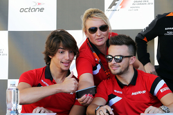 Roberto Merhi, Manor F1 Team with Tracy Novak, Manor F1 Team PR & Communications Director and Will Stevens, Manor F1 Team