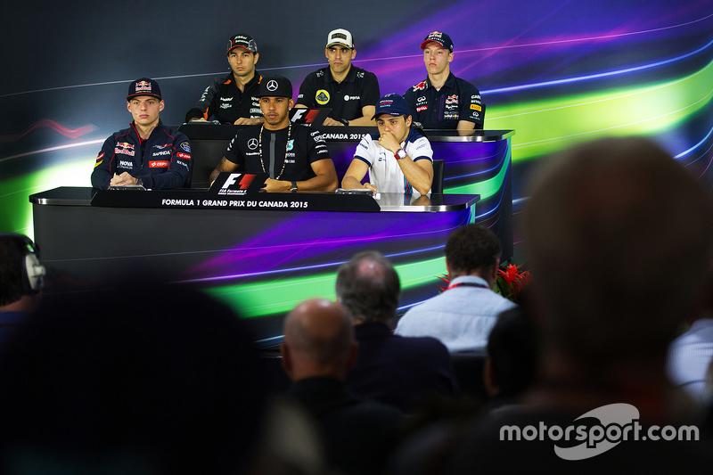 The FIA Press Conference, Sahara Force India F1; Pastor Maldonado, Lotus F1 Team; Daniil Kvyat, Red Bull Racing; Max Verstappen, Scuderia Toro Rosso; Lewis Hamilton, Mercedes AMG F1; Felipe Massa, Williams