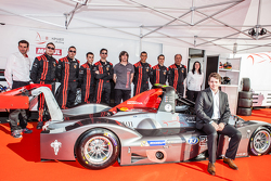 IDEC Sport Racing team and drivers pose with the Ligier JS 53 EVO 2: Patrice Lafargue, Paul Lafargue, Gabriel Abergel, Dimitri Enjalbert, William Cavailhes, Nicolas Da Rocha, Frédéric Da Rocha