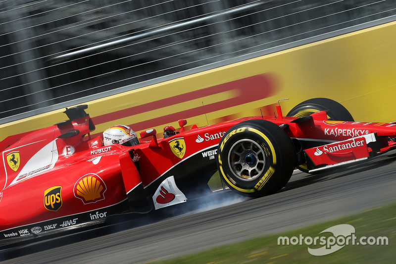 Sebastian Vettel, Ferrari SF15-T locks up saat mengerem