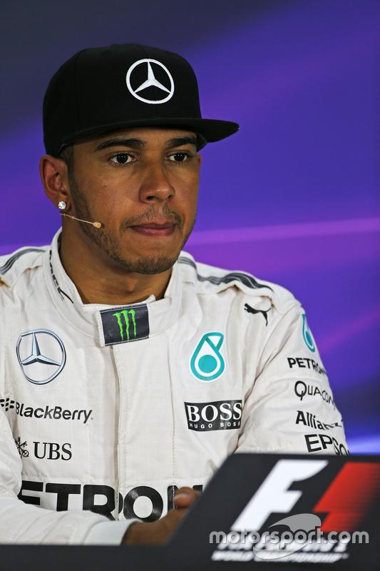 Polesitter Lewis Hamilton, Mercedes AMG F1 in the FIA Press Conference