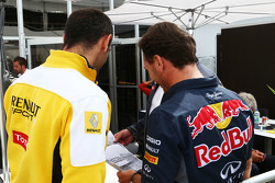 Cyril Abiteboul, Renault Sport F1 Managing Director met Christian Horner, Red Bull Racing-teambaas