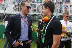 Javier Hernández, Manchester Utd Jugador de fútbol en la parrilla con Carlos Slim Domit, presidente de América Móvil y el Sahara Force India F1 Team
