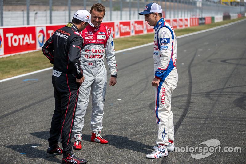 Porsche Team: Neel Jani, mit Audi Sport Team Joest: Marcel Fässler, und Toyota Racing: Sébastien Bue