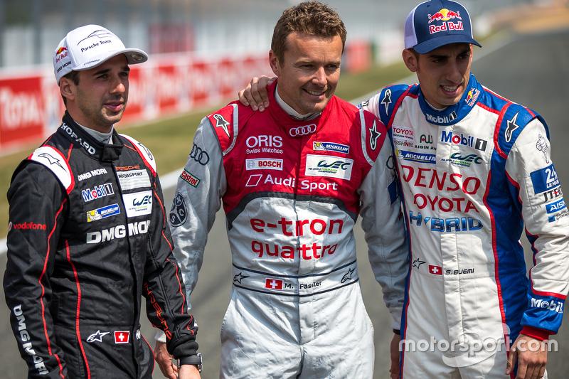 Porsche Team: Neel Jani with Audi Sport Team Joest: Marcel Fässler and Toyota Racing: Sébastien Buem
