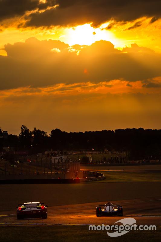 Race action at sunrise