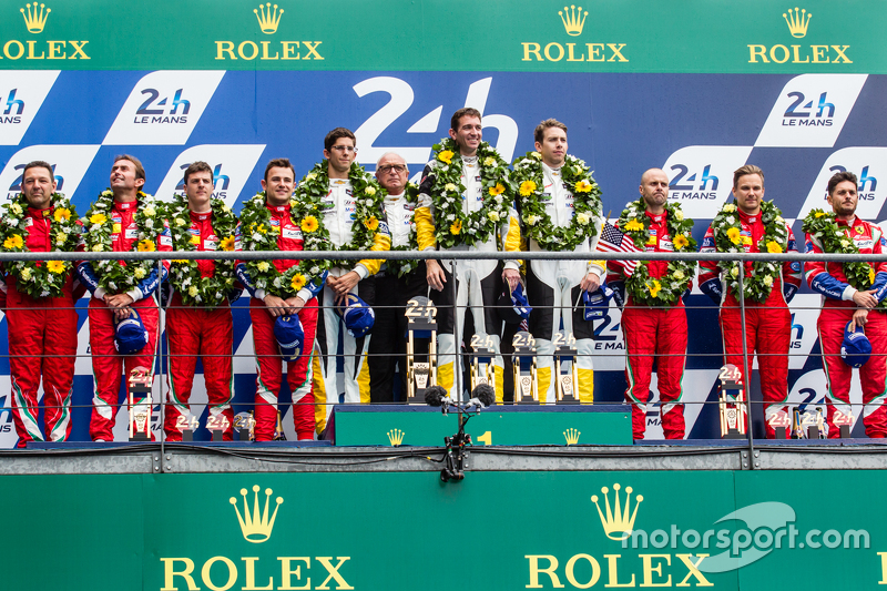 LMGT Pro podium: class winners #64 Corvette Racing Corvette C7.R: Jordan Taylor, Oliver Gavin, Tommy