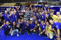 Pemenang balapan, Jorge Lorenzo, dan peringkat kedua Valentino Rossi, Yamaha Factory Racing
