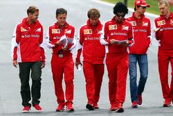 Sebastian Vettel, Ferrari walks the circuit