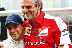 Felipe Massa, Williams with Maurizio Arrivabene, Ferrari Team Principal in the first practice session