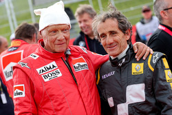 Niki Lauda, Mercedes Non-Executive Chairman and Alain Prost, at the Legends Parade