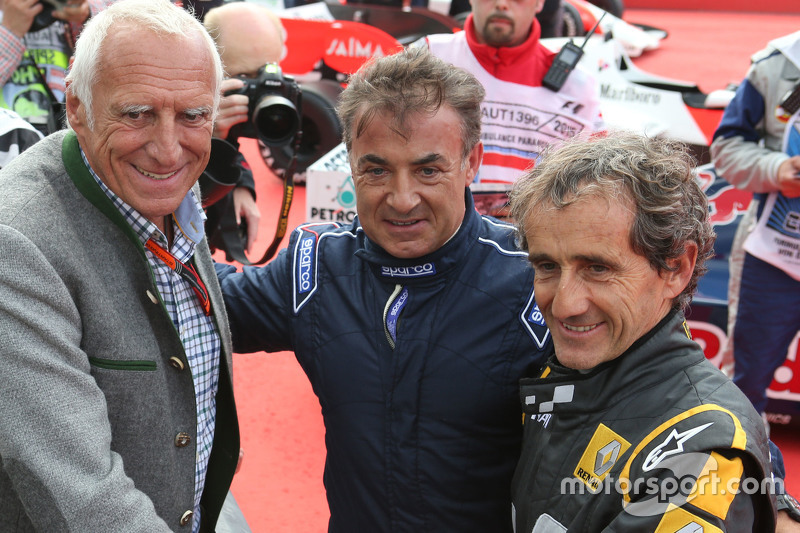 Dietrich Mateschitz, CEO and Founder of Red Bull with Jean Alesi, and Alain Prost, at the Legends Pa
