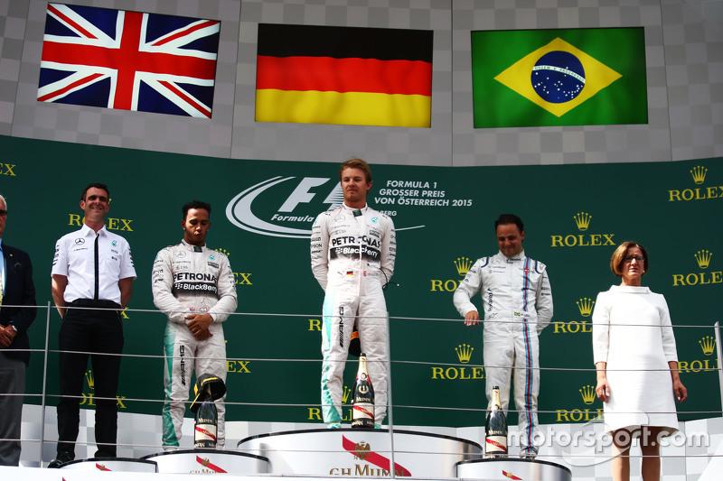 Podium: 2. Lewis Hamilton; 1. Nico Rosberg, Mercedes AMG F1, und 3. Felipe Massa, Williams