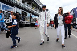 Felipe Massa, Williams with his wife Rafaela Bassi, and Felipinho Massa,