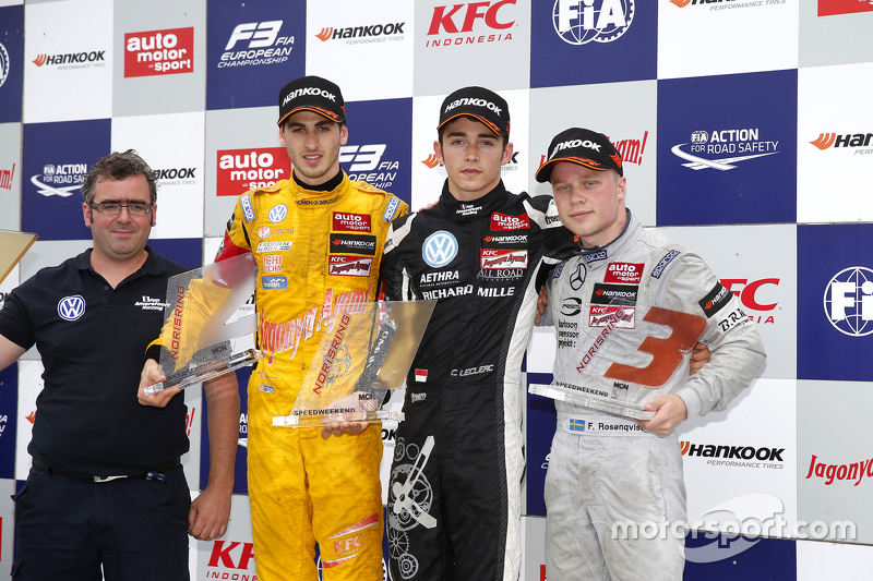Race 1 Podium: second place Antonio Giovinazzi, Jagonya Ayam with Carlin and winner Charles Leclerc, Van Amersfoort Racing and third place Felix Rosenqvist, Prema Powerteam