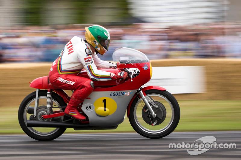 Giacomo Agustini on a classic MV Agusta