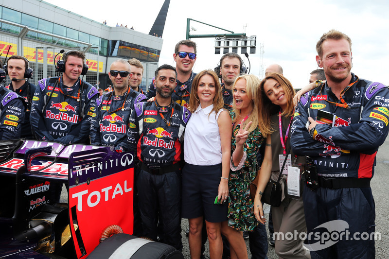 Former Spice Girls Geri Halliwell, Singer; Emma Bunton, Singer; and Melanie Chisholm, Singer, with Red Bull Racing on the grid