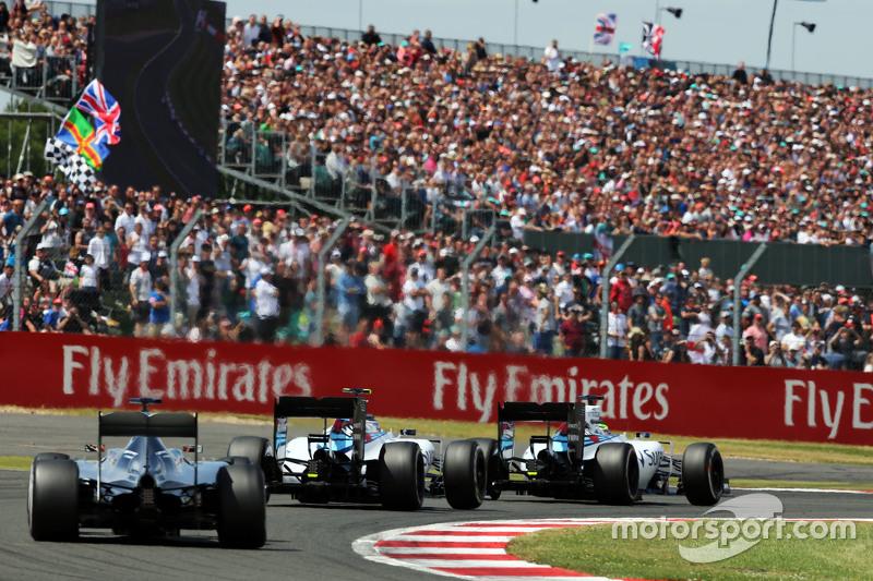 Felipe Massa, Williams FW37 leads team mate Valtteri Bottas, Williams FW37 and Lewis Hamilton, Merce