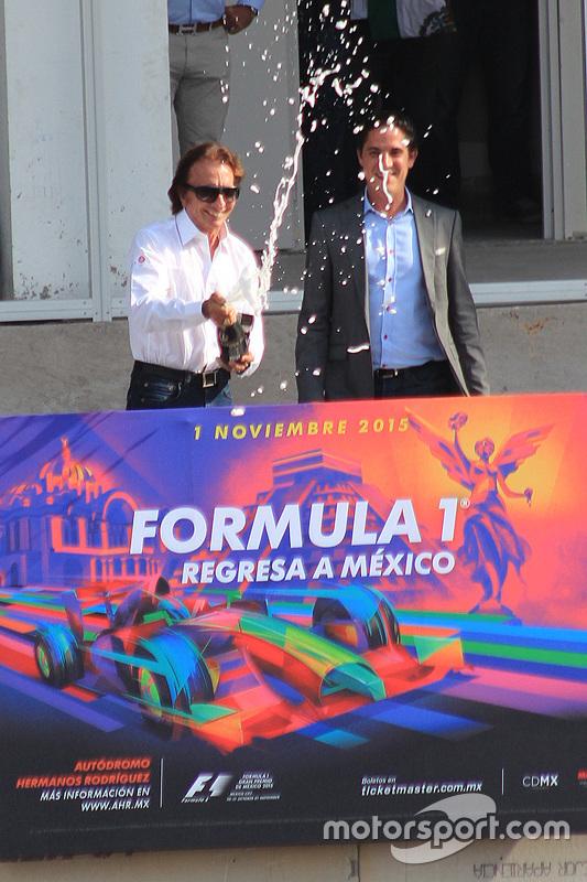 Emerson Fittipaldi wordt ambassadeur van de Mexicaanse GP, met Rodrigo Sanchez