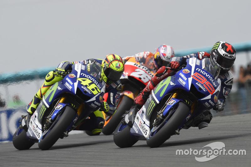 Jorge Lorenzo, Valentino Rossi, Yamaha Factory Racing et Dani Pedrosa, Repsol Honda Team