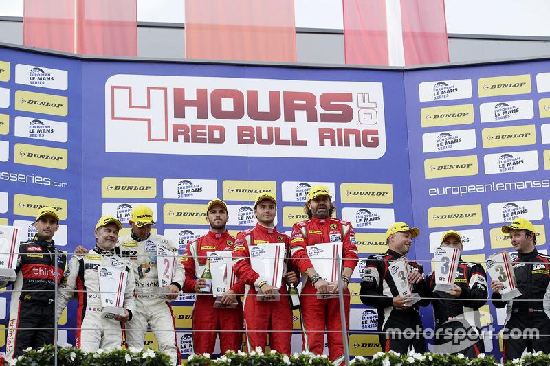 GTC podium: winners Thomas Flohr, Stuart Hall, Francesco Castellacci, second place Eric Dermont, Fra