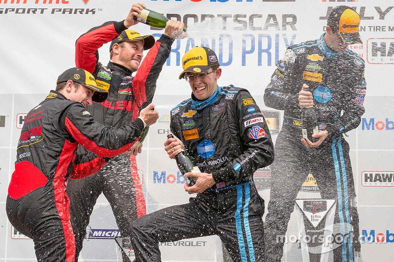 Overall podium: race winners Ricky Taylor, Jordan Taylor, Wayne Taylor Racing