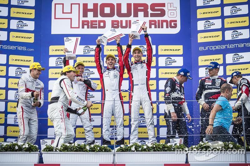 Podium: race winners Simon Dolan, Filipe Albuquerque, Harry Tincknell, second place Pierre Thiriet,
