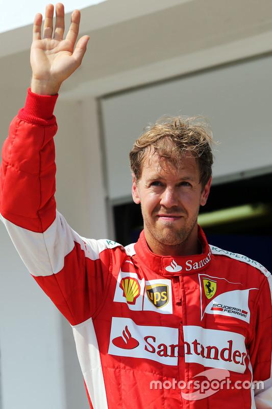 Sebastian Vettel, Ferrari celebra sua terceira position no parc ferme