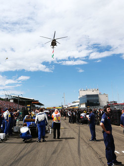Hungarian flag flies on a helicopter above grid