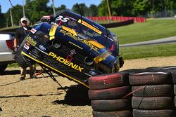 Safety crews work after a hard crash  #35 Phoenix American Motorsports Ford Mustang Boss 302: Preston Calvert