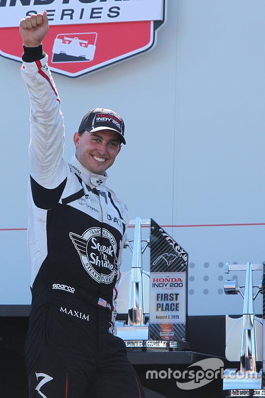 Winnaar Graham Rahal, Rahal Letterman Lanigan Racing Honda viert