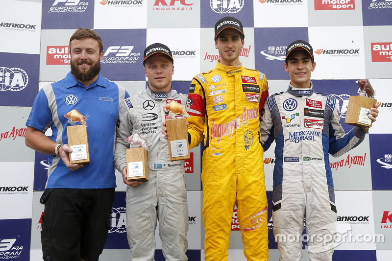 Pódio: Antonio Giovinazzi, Jagonya Ayam com Carlin Dallara Volkswagen, Felix Rosenqvist, Prema Power