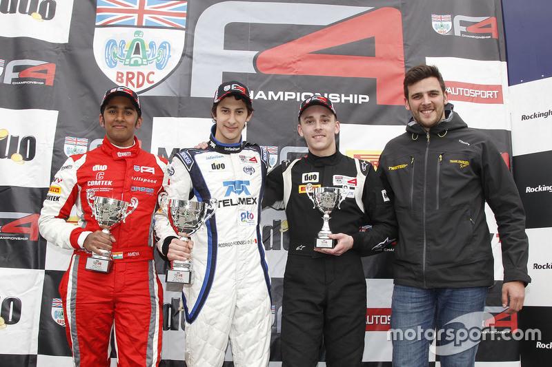 Podium: race winner round four Rodrigo Fonseca, Lanan Racing, second place Ameya Vaidyanathan, Hillspeed, third place Jack Lang, Lang Sport/Gorse Motors