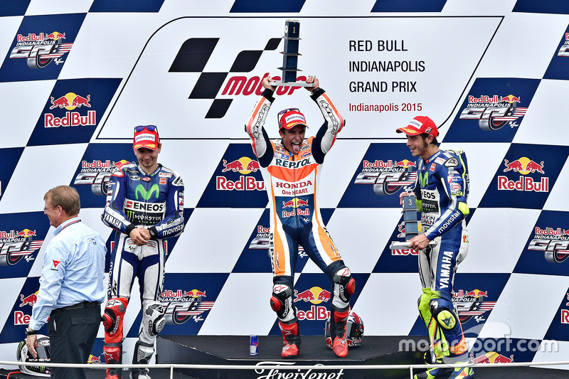 Podium: race winner Marc Marquez, Repsol Honda Team, second place Jorge Lorenzo, Yamaha Factory Racing, third place Valentino Rossi, Yamaha Factory Racing