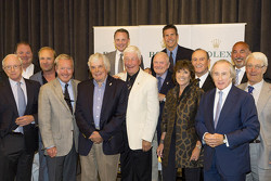 Iconic race drivers, from left, front row: Skip Barber, Hurley Haywood, Brian Redman, Howden Ganley, program moderator Murray Smith, Lyn St. James, Sir Jackie Stewart; From left, second row: Chip Ganassi, Bill Auberlen, David Donohue, Scott Pruett, Bob Bondurant, Bobby Rahal, John Morton