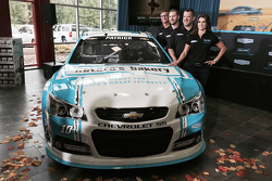 Danica Patrick and Tony Stewart with the new sponsor and paint scheme