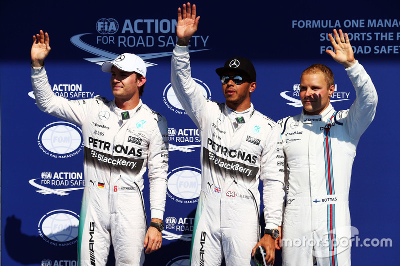 Qualifying: second place Nico Rosberg and polesitter Lewis Hamilton, Mercedes AMG F1 and third place