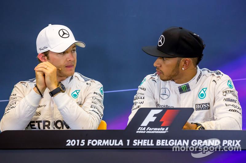 (L to R): Nico Rosberg, Mercedes AMG F1 with team mate Lewis Hamilton, Mercedes AMG F1 in the FIA Pr