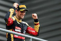 Ромен Грожан, Lotus F1 Team празднует третье место на подиуме